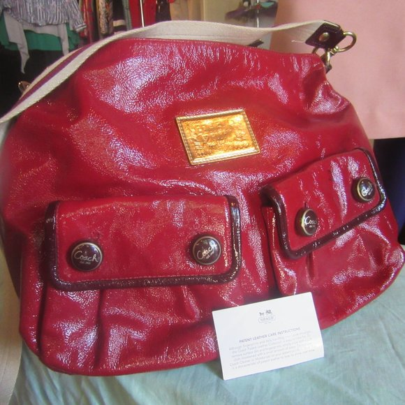 Coach Handbags - Coach Poppy Red Patent Leather Hobo 16103 NICE